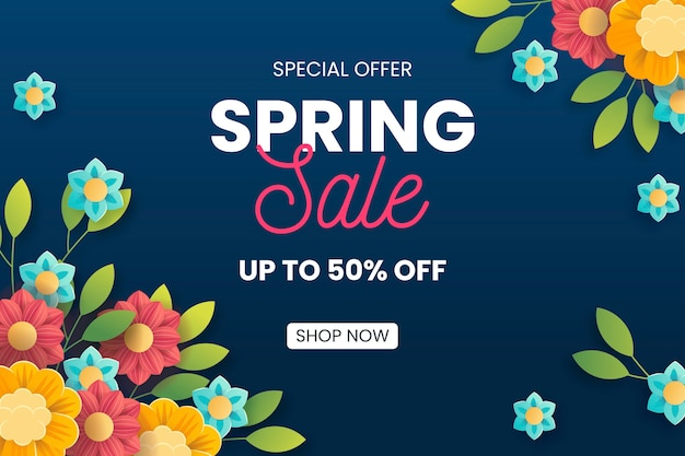 Spring sale with colorful flowers Free Vector