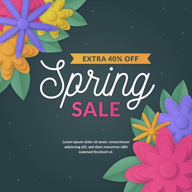 Весенняя распродажа с яркими цветами в бумажном стиле Бесплатные векторы