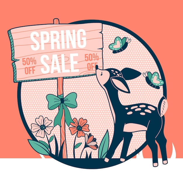 Spring sale with deer and butterflies Free Vector