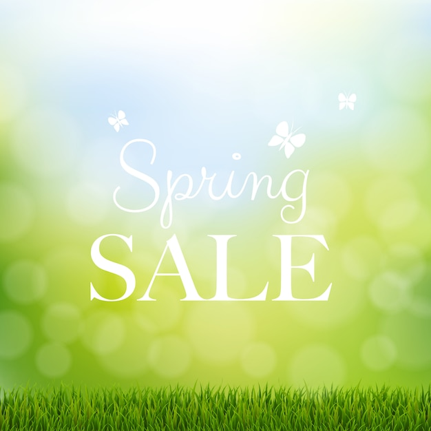Spring sale with grass border Premium Vector