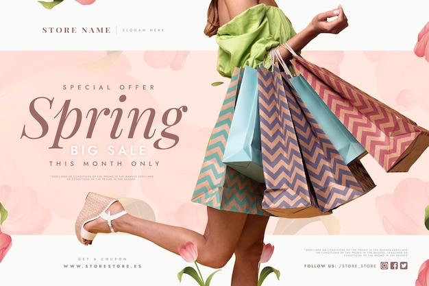 Spring sale with woman holding shopping bags Free Vector