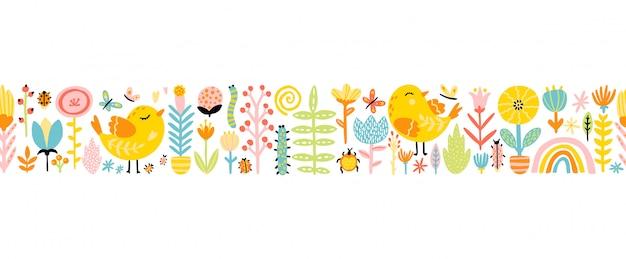 カラフルなパレットで鶏、花、虹、昆虫のかわいい漫画鳥と春のシームレスなボーダーパターン。手描きのスカンジナビア風の幼稚なイラスト Premiumベクター