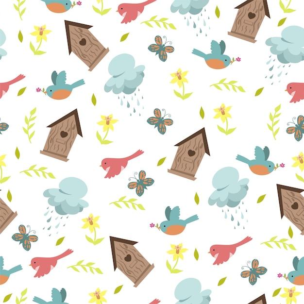 春の鳥と白い背景の巣箱とのシームレスなパターン。 Premiumベクター
