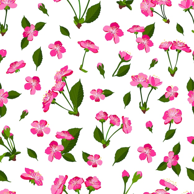 Spring seamless pattern with cherry blossom Premium Vector