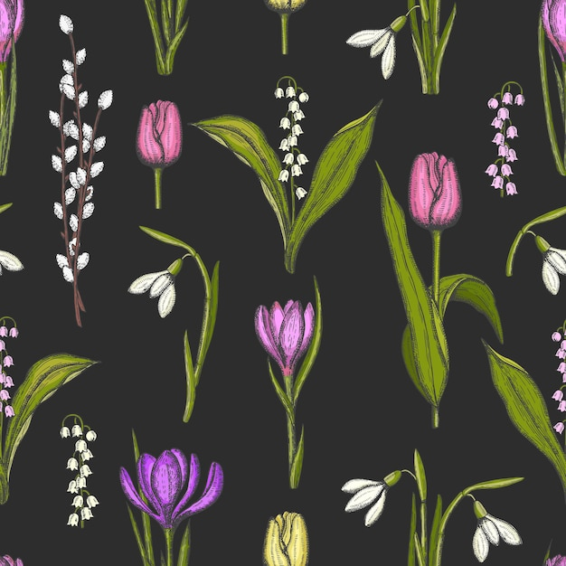 Spring seamless pattern with hand drawn flowers lilies of the valley Premium Vector