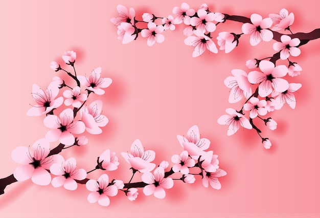 Spring season cherry blossom concept Premium Vector