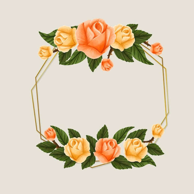Spring season frame with yellow and orange roses Free Vector