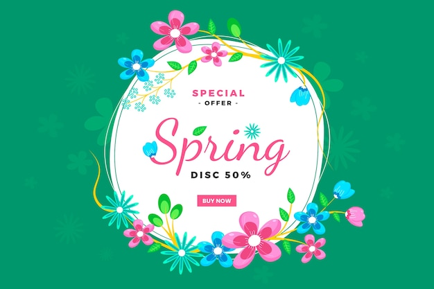 Spring season sales with flowers Free Vector