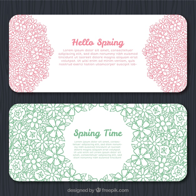 Spring sketches with flowers banners