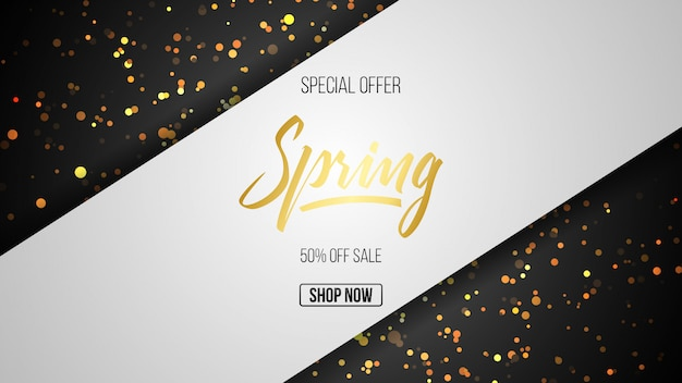 Spring special offer luxury gold background Premium Vector