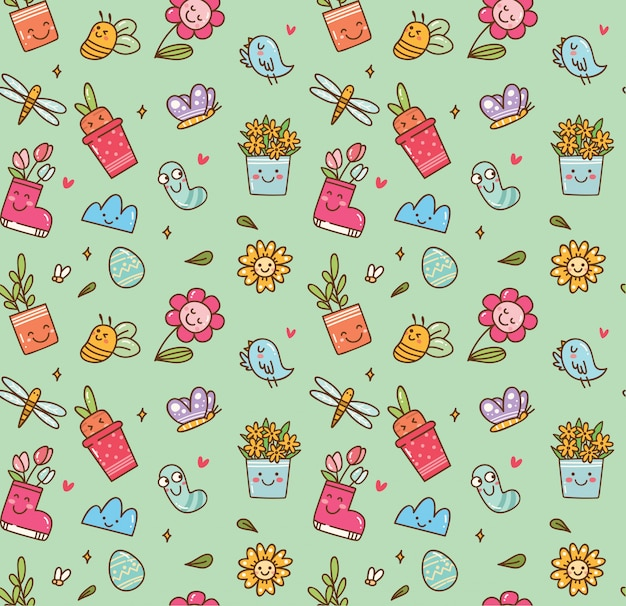 Spring themed seamless background in kawaii style Premium Vector