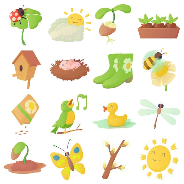 Spring things icons set Premium Vector