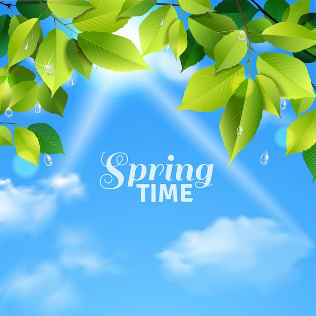 Spring time realistic poster Free Vector