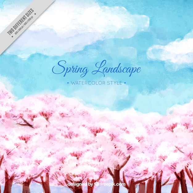 Spring tree and watercolor sky\ background