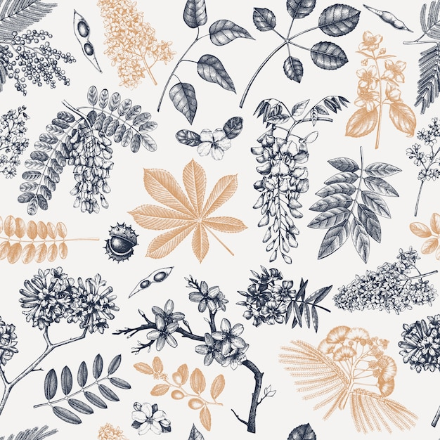 Spring trees in flowers seamless pattern. hand drawn blooming plant background. vintage flower, leaf, branch, tree sketches backdrop. spring banner, wrapping paper, textile, fabric. Premium Vector