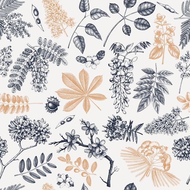 꽃 원활한 패턴에서 봄 나무입니다. 손으로 그린 피 식물 배경입니다. 빈티지 꽃, 잎, 가지, 나무 스케치 배경. 봄 배너, 포장지, 섬유, 직물. 프리미엄 벡터