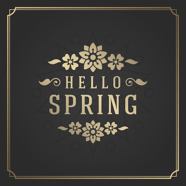 Spring typography quote label for greeting card. Premium Vector