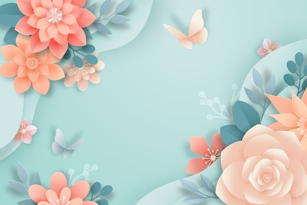 Spring wallpaper paper style Free Vector