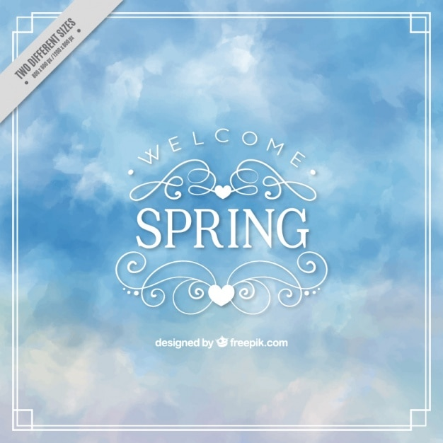 Spring watercolor sky background Free Vector