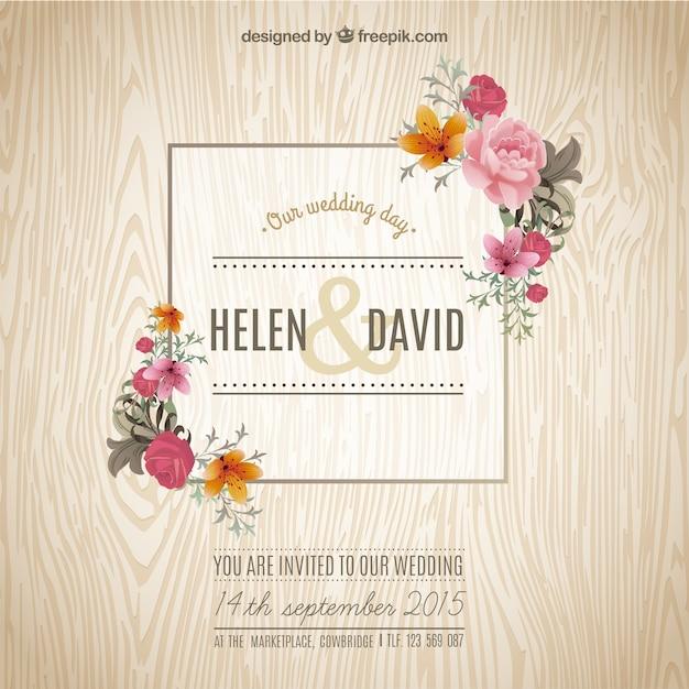 Spring wedding invitation Vector Free Download