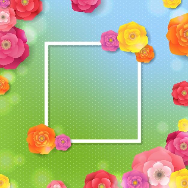グラデーション付き花フレーム春 Premiumベクター