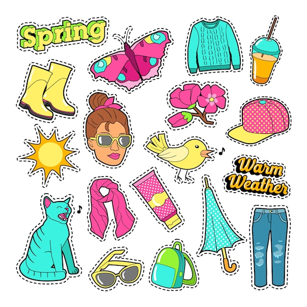 Spring woman fashion with clothes and accessories for badges, stickers, patches. vector doodle Premium Vector