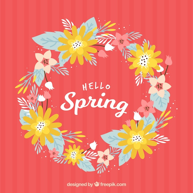 Spring wreath background Free Vector