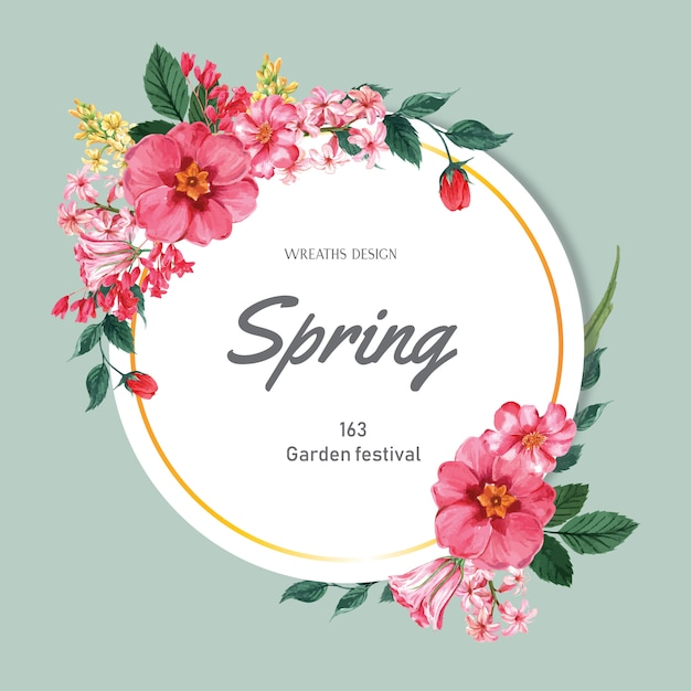 Spring wreath frame fresh flowers, decor card with floral colorful garden, wedding, invitation Free Vector