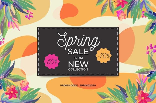 Весенние распродажи и цветочная рамка Бесплатные векторы