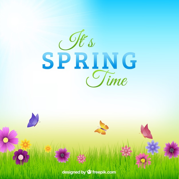 Springtime typography in colorful background Free Vector