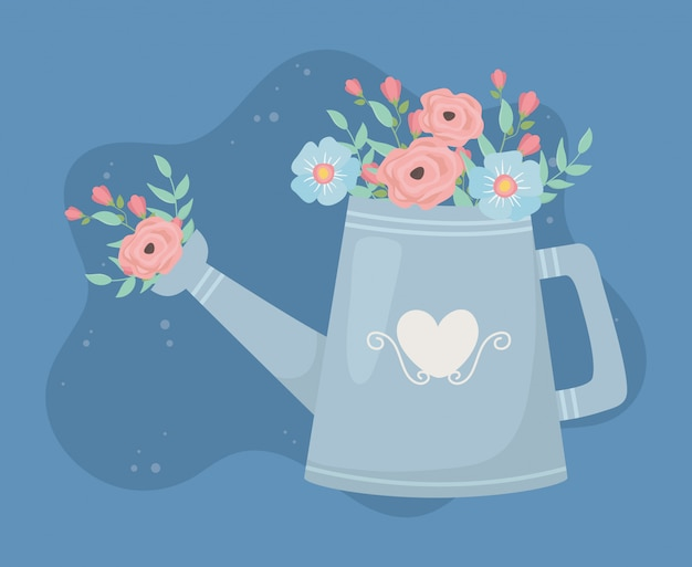Sprinkler gardening flowers and leafs decoration Premium Vector