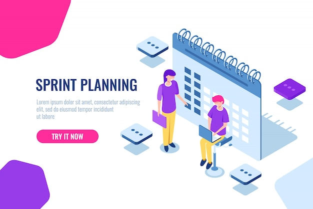 Sprint planning isometric concept, calendar filling, important affairs reminder Free Vector