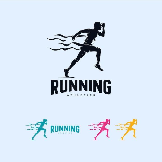 Sprint running athletics marathon logo design template Premium Vector