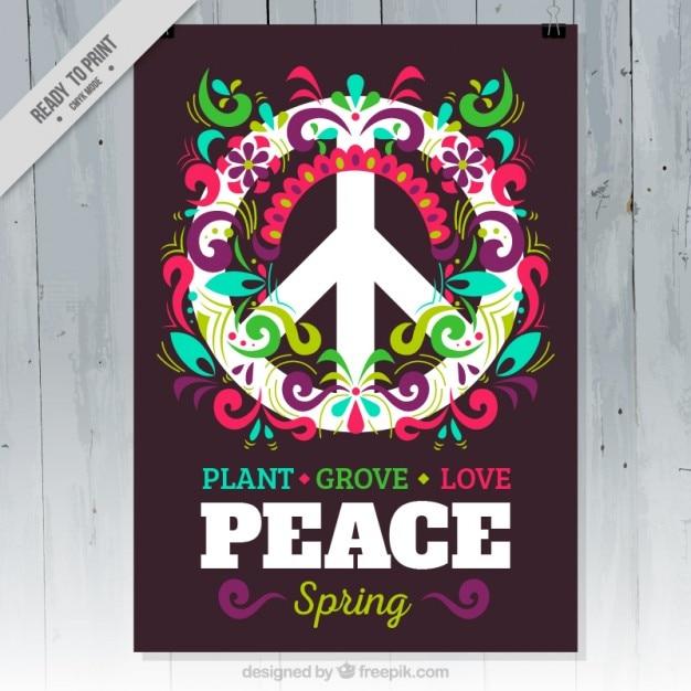 色とりどりの花sprintg党のポスターとの和平シンボル 無料ベクター