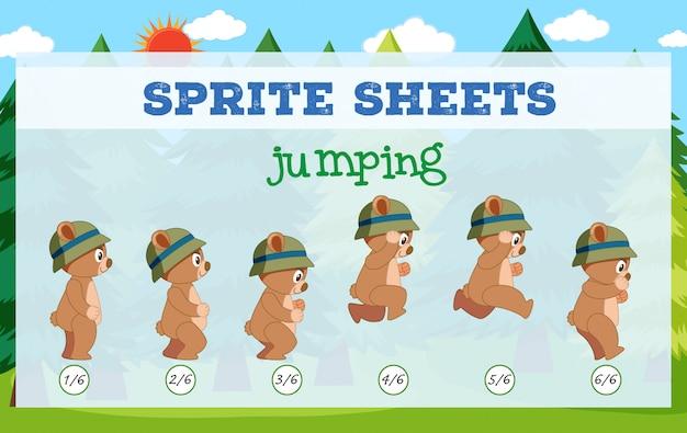 Sprite sheet bear jumping Premium Vector