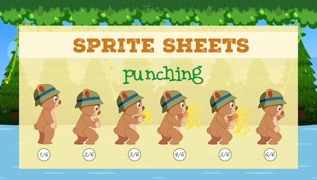 A sprite sheet punching game template Free Vector