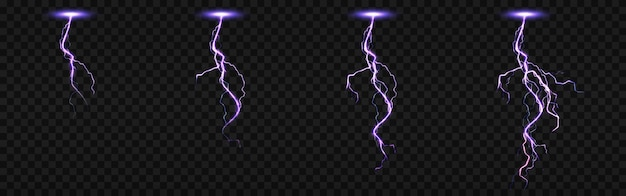 Sprite sheet with lightnings, thunderbolt strikes set for fx animation. realistic set of purple electric impact at night, sparking discharge of thunderstorm isolated on transparent background Free Vector
