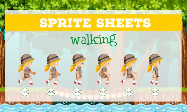 Sprite sheets girl walking Free Vector