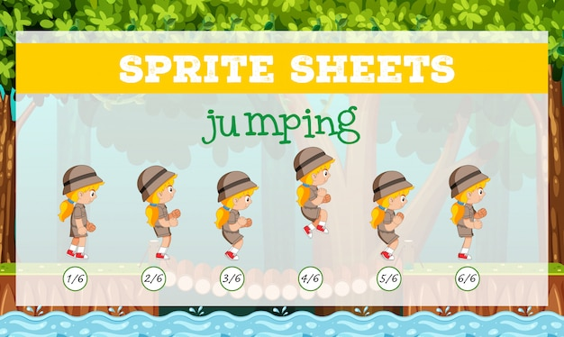 Sprite sheets jumping Free Vector