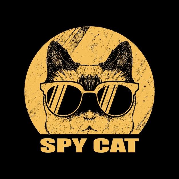 Spy cat eyeglasses illustration Premium Vector