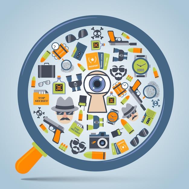 Spy concept loupe icon Premium Vector