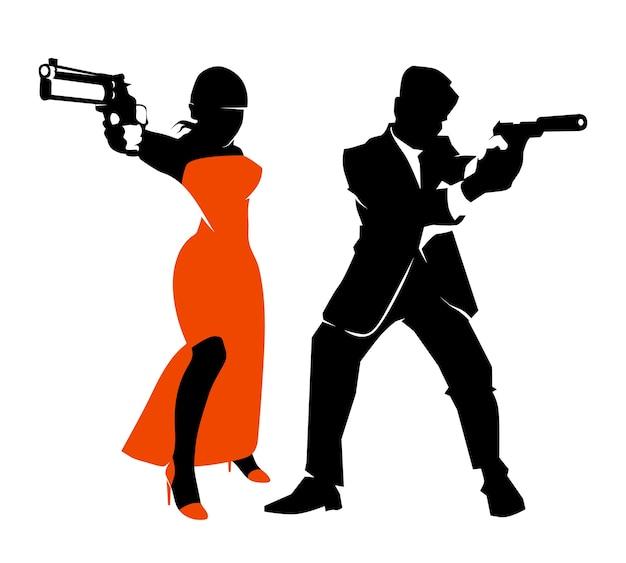 Набор векторных шпионская пара. детектив мужчина и женщина, иллюстрация оружия и пистолета Бесплатные векторы