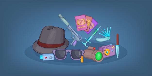 Spy horizontal background , cartoon style Premium Vector