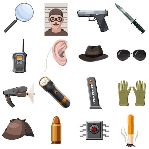 Spy icons set, cartoon style Premium Vector