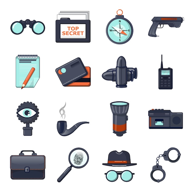 Spy icons set Premium Vector