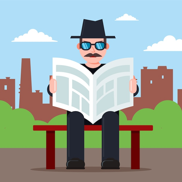 Spy sits on a bench with a newspaper in his hands and a hat. secret observer character. flat vector illustration. Premium Vector