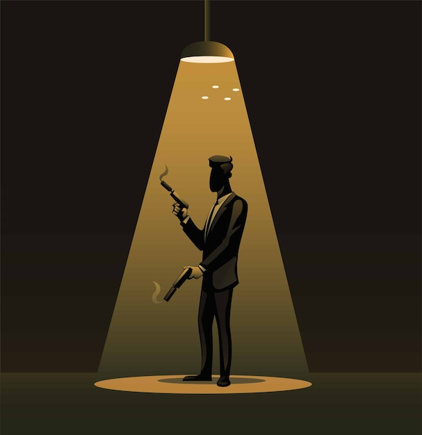Spy in tuxedo holding gun sillhouette under spotlight symbol illustration Premium Vector