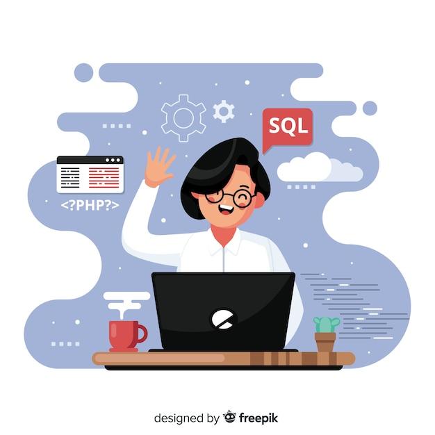 Программист работает с sql Бесплатные векторы