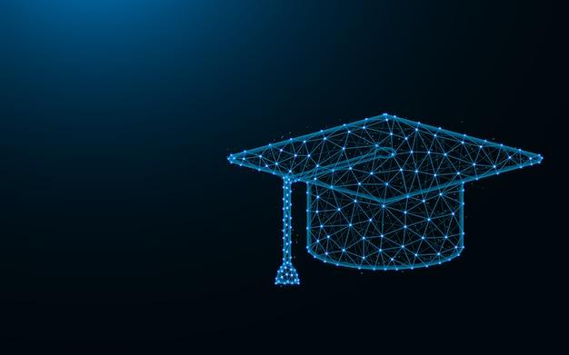Квадратная академическая шапка из точек и линий на темно-синем фоне, образование каркасной сетки многоугольное Premium векторы