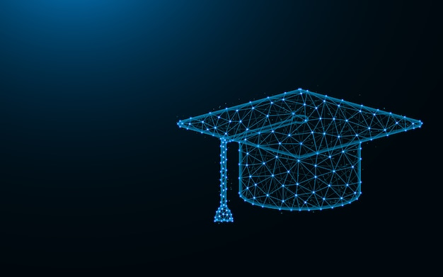 Square academic cap made from points and lines on dark blue background, education wireframe mesh polygonal Premium Vector